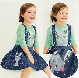 Wholesale 2015 Spring hot cute rabbit baby kid girl clothing set vintage baby girl clothing long sleeve t shirt with dress set M T