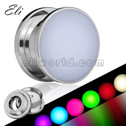 Wholesale New Arrival Stainless Steel Screw Flesh Tunnel LED Ear Plugs Body Piercing Jewelry With Mix Color Lighting
