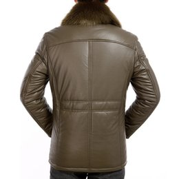 Men Padded Brown Leather Jacket Online | Men Padded Brown Leather ...