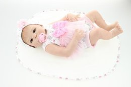 Wholesale 22 quot Victoria rooted brown hair Handmade Silicone silicone reborn dolls Lifelike Bonecas Reborn doll for kid Gift
