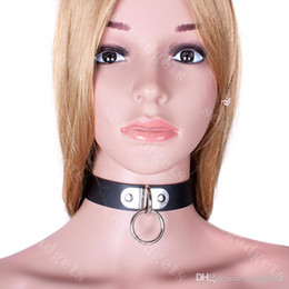 Wholesale Bondage Sex Toys Black BDSM Slave Neck Collar PU Collars Restraints Gear Fetish Play Adult Products for Women ASL XQ0095