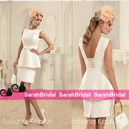 Wholesale Tatiana Kaplun Short Wedding Dresses with Boho Chic Bodycon Wrap Style Sexy Greek Goddess for Sale Brides Bridal Reception Party Gowns