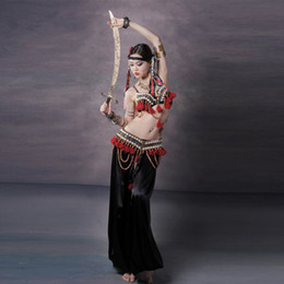 Wholesale 2016 Belly Dance Costume Set Bra Waist Pants Women Embroidery Tribal Bellydance Professional Lady Dance Wear Indian Sari
