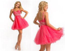 Wholesale 2015 Trendy Short Coral Bridesmaid Dresses Empire Waist One Shoulder Crystal Beads Party Dresses Mini Corset Prom Dresses Homecoming Dresses