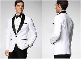 Wholesale Best New White Jacket Black Satin Lapel Groom Tuxedos Groomsmen Mens Suits denim blazers Man CLOTHING Wedding Suit for Men