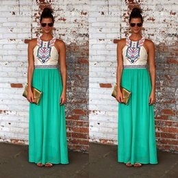 Wholesale 2015 retail Womens fashion Sexy Boho Long Maxi Dress Ladies Summer Beach Party Sundress Size