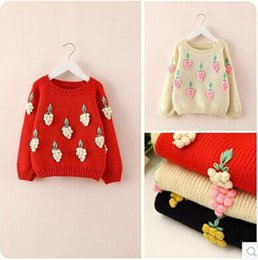 Wholesale 2015 Spring Girls Pullover Baby Stereo Grapes Crochet Girl Sweaters Knit Jumper Kids Clothes European Children s Clothing Red Cheap z