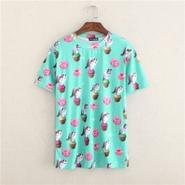 Wholesale Cute cats D pattern women tshirt novelty printed t shirt girls summer dress top tees ice scream high quality