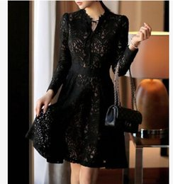 Wholesale 2016 New Women Clothing fashion Nice Casual Women Clothing Apparel Dress three quarter sleeve Lace sexy bowknot Dress Z01