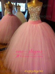 Wholesale vestidos de quinceanera dresses Sweetheart Pink Tulle With Sequined Crystal Beading Glitter Floor Length Formal Evening Debutante Gowns