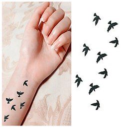 Wholesale 20 New Bird Free to Fly in Sky Waterproof Fashion Tattoo Stickers Flower Jewelry Letter Temporary Tattoos