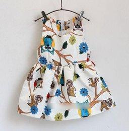 Wholesale Girls Dresses Girl Clothing Sleeveless Vest Sundress Owl Flower Printed big Summer Korean Style Kids Childs Sweet girl child J5109