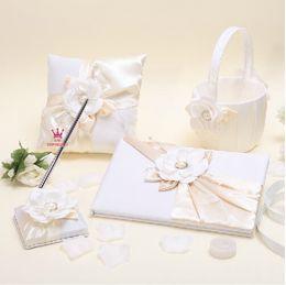Wholesale 4pcs set wedding favors unique pearl diamond white flowers devise Guestbook Pen Set Ring Pillow Flower Basket
