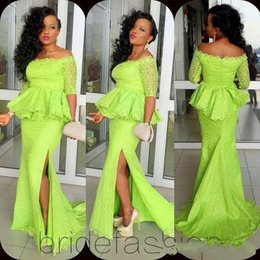 Wholesale South African Nigerian Evening Dresses Green Lace Sleeves Off Shoulder Peplum Side Slit Arabic Dresses Party Evening Gowns Plus Size LA