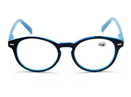 Wholesale Mens Large Round Retro Black Blue Frame Reading Glasses Presbyopia Lenses All Strengths