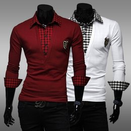 Wholesale 2014 Fashion embroidery Mens New Patchwork Long Sleeve Slim POLO Shirt Wine Red White Size M L XL XXL