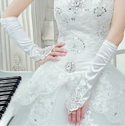 Wholesale Best Selling Elegant White Ivory Wedding Party Fingerless Pearl Lace Satin Elbow Long Bridal Gloves AG112108