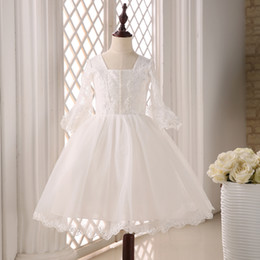 Wholesale White Kids First Communion Dress With Lace Sleeves Square Neckline Ball Gown Littlr Girl Formal Dres
