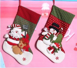 Wholesale 2014 Christmas Collection New Arrival Hot Sale Super Size cm Christmas Stockings Lively Cloth Fabric Christmas Tree Decorations Gift Bags