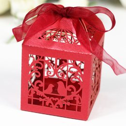 Wholesale 60pcs Mini Paper Candy Box Birds Heart Design Wedding Party Sweetmeat Chocolate Packing Bag Sweet Gift Holder wc148