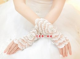 Wholesale 2015 New Arrival Real Image White Short Floral Fingerless Wedding Gloves Prom Evening Special Occasion Bridal Bride Glove Women NEW