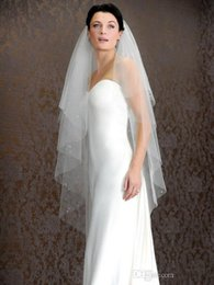 Wholesale 2014 White or Ivory Bridal Veils Layers Fingertip Length Wedding Veils Beaded Tulle Bridal Accessories with Comb LX