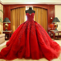 Discount pearl beaded wedding dress Michael Cinco Luxury Ball Gown Red Wedding Dresses Lace Top quality Beaded Sweetheart Sweep Train Gothic Wedding Dress Civil vestido de 2016