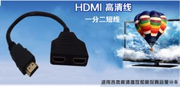 2017 vga female cables High Quality HDMI Male To 2 HDMI Female 1 In 2 Out Splitter Cable Adapter Converter 24