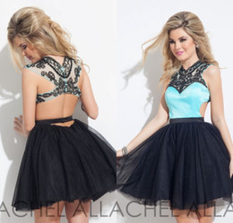 Wholesale Aqua Black Short Prom Cocktail Dresses Fashion Cutaway Sides Rachel Allan Beaded High Neck A Line Crystal Sexy Backless Homecoming Gown
