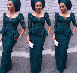 Wholesale Vintage Lace Evening Dresses Aso Ebi Style Mermaid Juliet Square Long Sleeves Peplum Formal Dress For Women Dark Green Prom Gowns