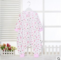 Wholesale new type Cotton Baby Romper long sleeve baby pajamas pink little flower sleeping bag