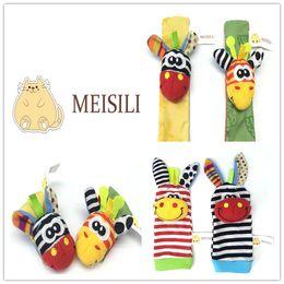 Wholesale 2015 New Arrival Lamaze Style MEISILI Plush Rattle Wrist Foot Socks Baby Educational Toys set wrist socks