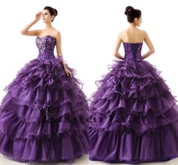 Wholesale Puffy Sweet Long Sweet Dresses Quinceanera Purple Color Sparkly Crystal And Beaded Corest Ball Gown Girls Designer Party Dress HC
