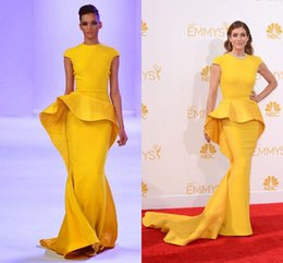 Wholesale Best Selling Yellow Crew Capped Sleeve Formal Dresses Skirt Train Beaded Crystals Mermaid Evening Dresses with Peplum Satin Prom Dresses