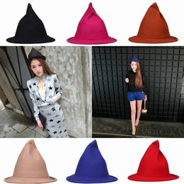 Halloween Cashmere Witches Hats Costumes Decoration Festive Party Cosplay Props Witches Wizard Caps EKY*1