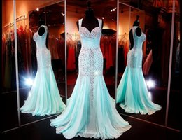 Wholesale 2015 Cheap Aqua Sweetheart Neckline Mermaid Long Prom Dresses Sexy Open Back Crystal Pageant Gowns Beads Chiffon Dresses Party Evening