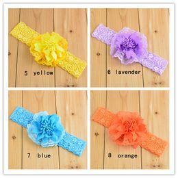Wholesale 22pcs Color Lace Chiffon Flower Headbands Rose Silk Bowknot Baby Hair Band Headwear Children Satin Ribbon Hair Bows Hair Accessories