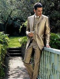 Wholesale 2014 Custom Made Gold Satin Groom Tuxedos Groomsman Suit High Quality Wedding Mens suits Jacket Pants Vest Tie