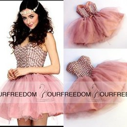 Wholesale Cute Short Homecoming Dresses Sweetheart Strapless Crystal Tulle Mini Length Skin Pink Red Corset Prom Dress Backless Party Gowns