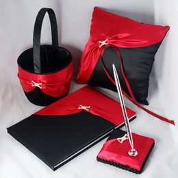 Wholesale Wedding supplies red and black ring pillow basket Guest Books Pen Sets fast shipping