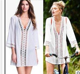 Wholesale 2015 New Women Sexy Bikini Cover Up Lace Hollow Crochet Swim Suit Swimwear Beach Dress