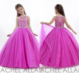 Wholesale Princess Wedding Toddler Fuschia Pageant Ball Gowns Flower Girl Dresses Formal Long Cheap For Little Girls Dress Crystals Cheap Girl s