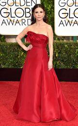 Wholesale 2015 Catherine Zeta Jones Celebrity Dresses Golden Globe Awards Red Carpet Dresses Strapless Evening Gowns Taffeta Plus Size Ball Gowns