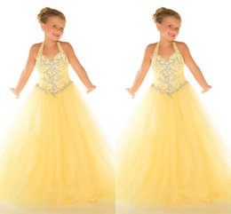 Wholesale Charming Yellow Little Girls Pageant Dresses Halter Backless Rhinestone Beading Ball Gown Wedding Party Dress Long Gowns For Kids