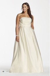 Wholesale Custom Made Satin Plus Size Ball Gown strapless with Pockets Style SDWG0235 Wedding Dresses