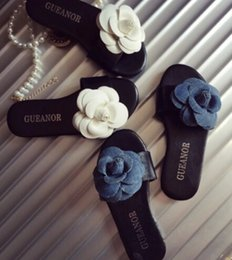 Wholesale Summer Time Colors Girls Elegant Camellia Slippers Flower Sandals Princess Kids Low heeled Children Shoes pairs l