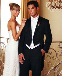 Wholesale Custom Make Handsome Black Three Buttons Slim Fit Groom Tuxedos Best man Groomsman Men Wedding Prom Suits Bridegroom Jacket Pants Tie Vest