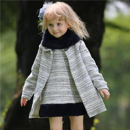 Wholesale Pettigirl Children Winter Girl Clothing Sets Grey Coat And Tank Dress With Fur Scarf Girls Outfits For Kids Clothes CS80727 L