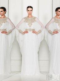 Wholesale Arabic Dubai ABAYA KAFTAN white Arrival Zuhair Murad Muslim Dress Poet Long Sleeve With Beaded Chiffon Evening Dresses formal gowns BO3486