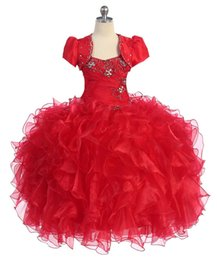 Wholesale Ball Gowns For Little Girls Red With Vest Floor Length Girl Pageant Dresses Real Picture Glitz Spring Gown Custom Made On Line Shop